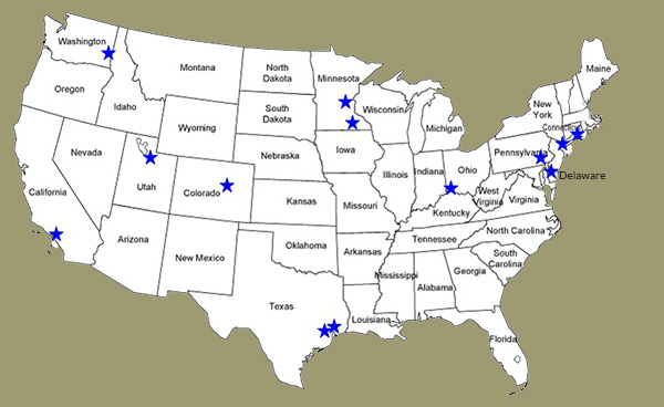 A map of the United States showing the locations of accredited labs.